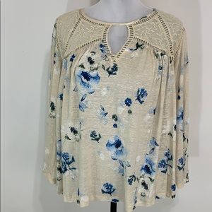 Lucky Brand Boho flowers & lace tunic never worn